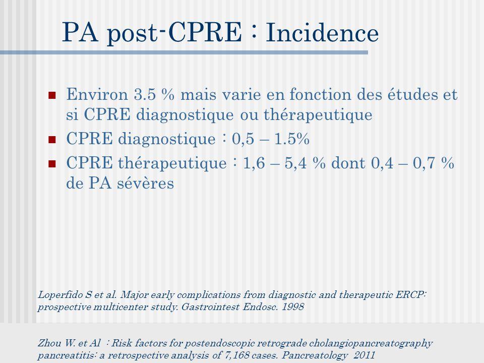 PA post-CPRE : Incidence Environ 3.5 % mais varie en fonction des études et si CPRE diagnostique ou thérapeutique CPRE diagnostique : 0,5 – 1.5% CPRE thérapeutique : 1,6 – 5,4 % dont 0,4 – 0,7 % de PA sévères Loperfido S et al.