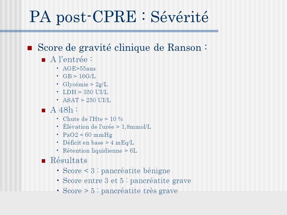 PA post-CPRE : Sévérité Score de gravité clinique de Ranson : A l'entrée : AGE>55ans GB > 16G/L Glycémie > 2g/L LDH > 350 UI/L ASAT > 250 UI/L A 48h : Chute de l'Hte > 10 % Élévation de l'urée > 1,8mmol/L PaO2 < 60 mmHg Déficit en base > 4 mEq/L Rétention liquidienne > 6L Résultats Score < 3 : pancréatite bénigne Score entre 3 et 5 : pancréatite grave Score > 5 : pancréatite très grave