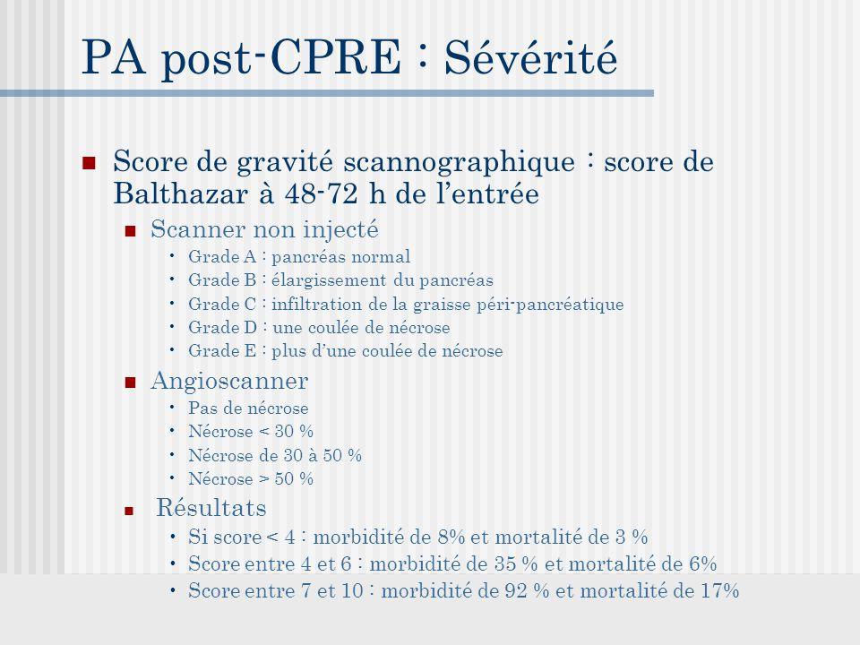 PA post-CPRE : Sévérité Score de gravité scannographique : score de Balthazar à 48-72 h de l'entrée Scanner non injecté Grade A : pancréas normal Grade B : élargissement du pancréas Grade C : infiltration de la graisse péri-pancréatique Grade D : une coulée de nécrose Grade E : plus d'une coulée de nécrose Angioscanner Pas de nécrose Nécrose < 30 % Nécrose de 30 à 50 % Nécrose > 50 % Résultats Si score < 4 : morbidité de 8% et mortalité de 3 % Score entre 4 et 6 : morbidité de 35 % et mortalité de 6% Score entre 7 et 10 : morbidité de 92 % et mortalité de 17%