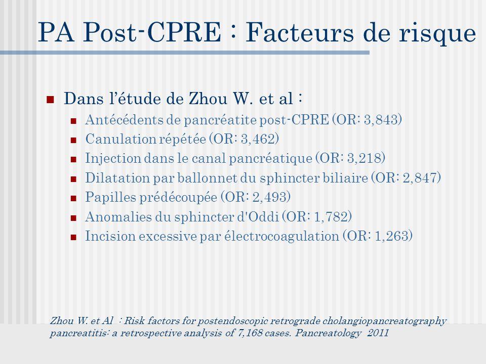 PA Post-CPRE : Facteurs de risque Dans l'étude de Zhou W.