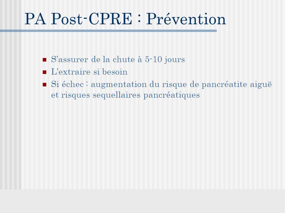 PA Post-CPRE : Prévention S'assurer de la chute à 5-10 jours L'extraire si besoin Si échec : augmentation du risque de pancréatite aiguë et risques sequellaires pancréatiques