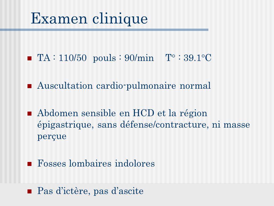 Examen clinique TA : 110/50 pouls : 90/min T° : 39.1°C Auscultation cardio-pulmonaire normal Abdomen sensible en HCD et la région épigastrique, sans défense/contracture, ni masse perçue Fosses lombaires indolores Pas d'ictère, pas d'ascite