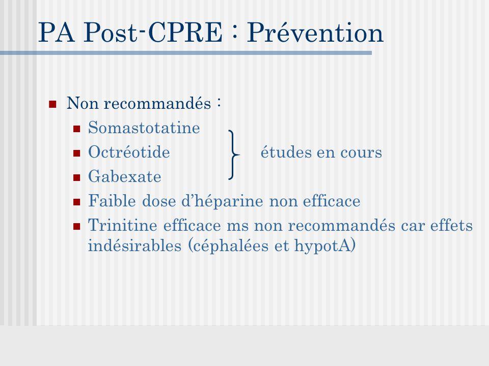 PA Post-CPRE : Prévention Non recommandés : Somastotatine Octréotide études en cours Gabexate Faible dose d'héparine non efficace Trinitine efficace ms non recommandés car effets indésirables (céphalées et hypotA)