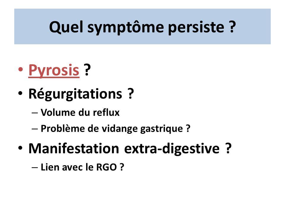 Quel symptôme persiste ? Pyrosis ? Régurgitations ? – Volume du reflux – Problème de vidange gastrique ? Manifestation extra-digestive ? – Lien avec l