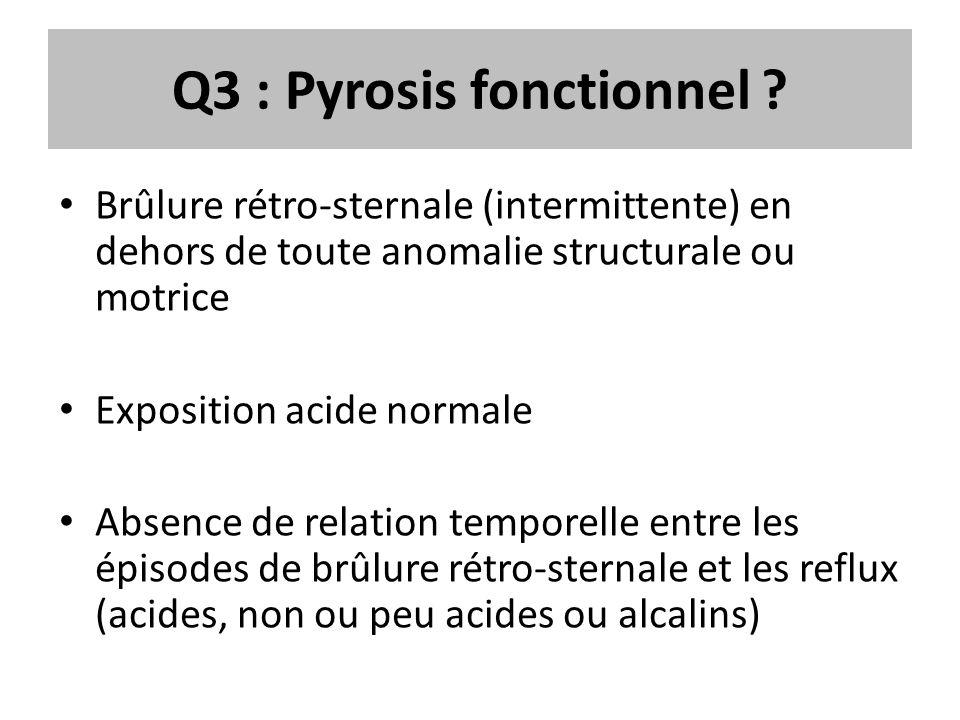 Q3 : Pyrosis fonctionnel ? Brûlure rétro-sternale (intermittente) en dehors de toute anomalie structurale ou motrice Exposition acide normale Absence