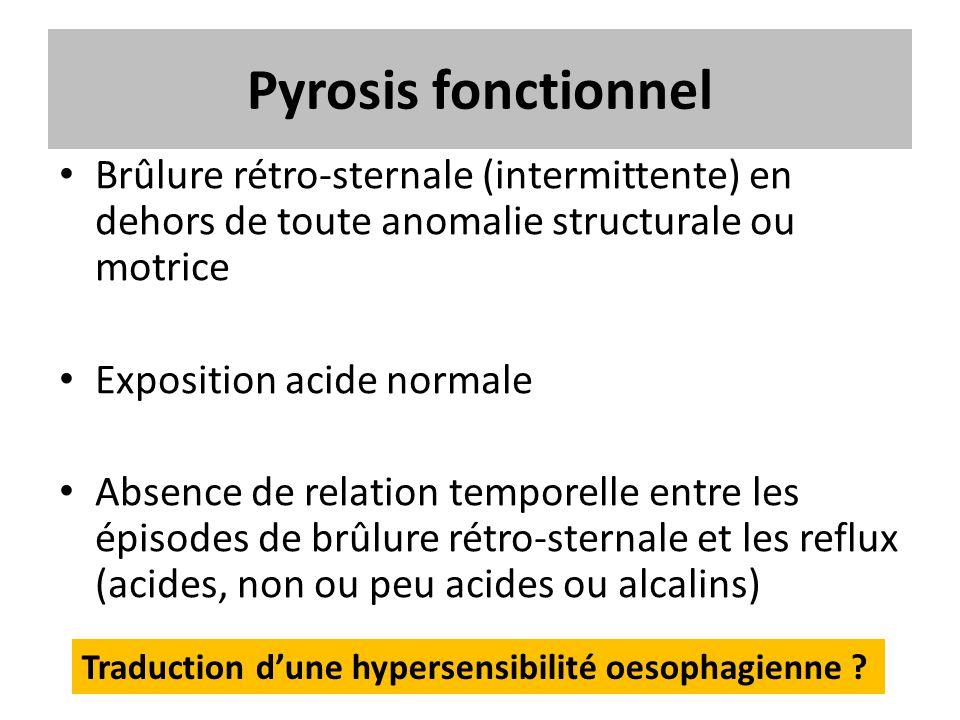 Pyrosis fonctionnel Brûlure rétro-sternale (intermittente) en dehors de toute anomalie structurale ou motrice Exposition acide normale Absence de rela