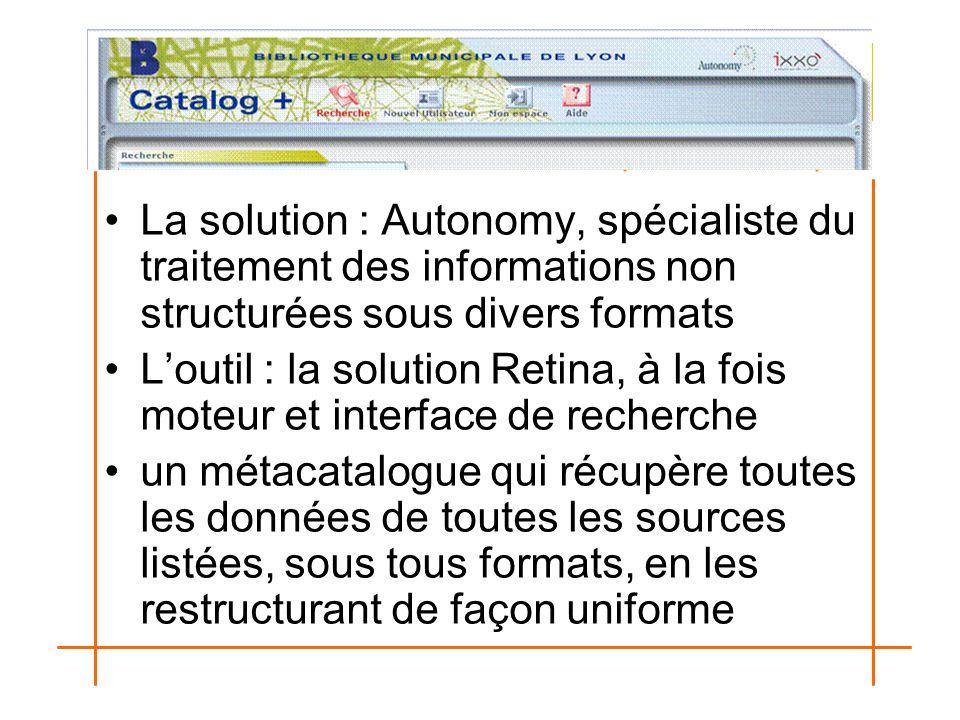 La solution : Autonomy, spécialiste du traitement des informations non structurées sous divers formats L'outil : la solution Retina, à la fois moteur