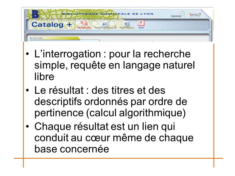 L'interrogation : pour la recherche simple, requête en langage naturel libre Le résultat : des titres et des descriptifs ordonnés par ordre de pertine