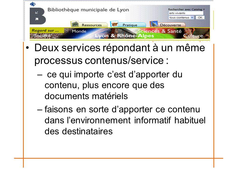 Deux services répondant à un même processus contenus/service : – ce qui importe c'est d'apporter du contenu, plus encore que des documents matériels –