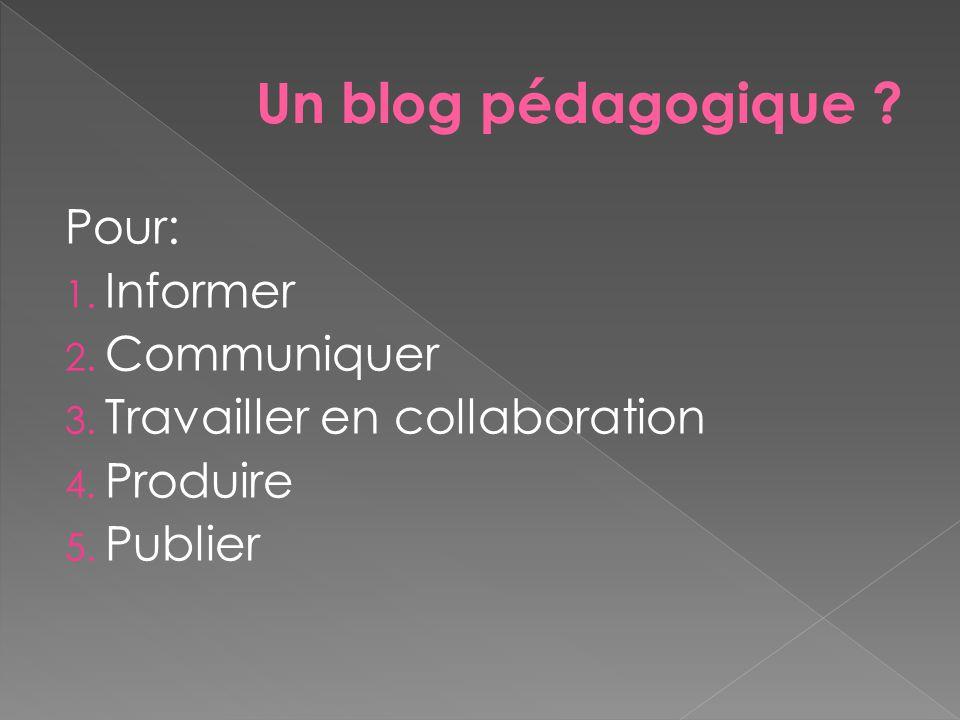 Pour: 1. Informer 2. Communiquer 3. Travailler en collaboration 4. Produire 5. Publier Un blog pédagogique ?