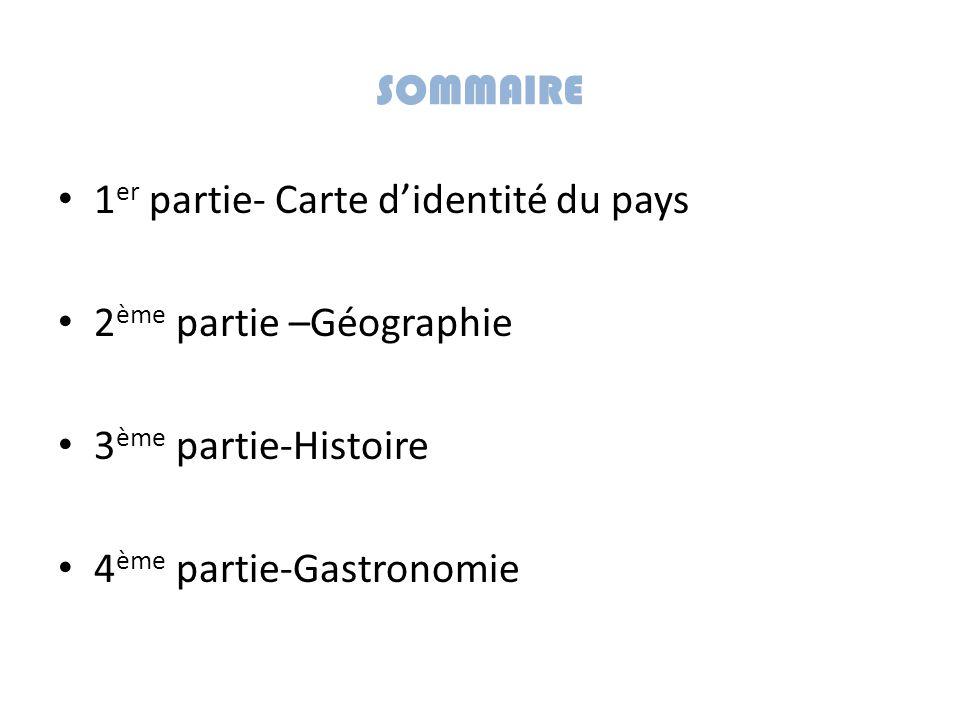 SOMMAIRE 1 er partie- Carte d'identité du pays 2 ème partie –Géographie 3 ème partie-Histoire 4 ème partie-Gastronomie