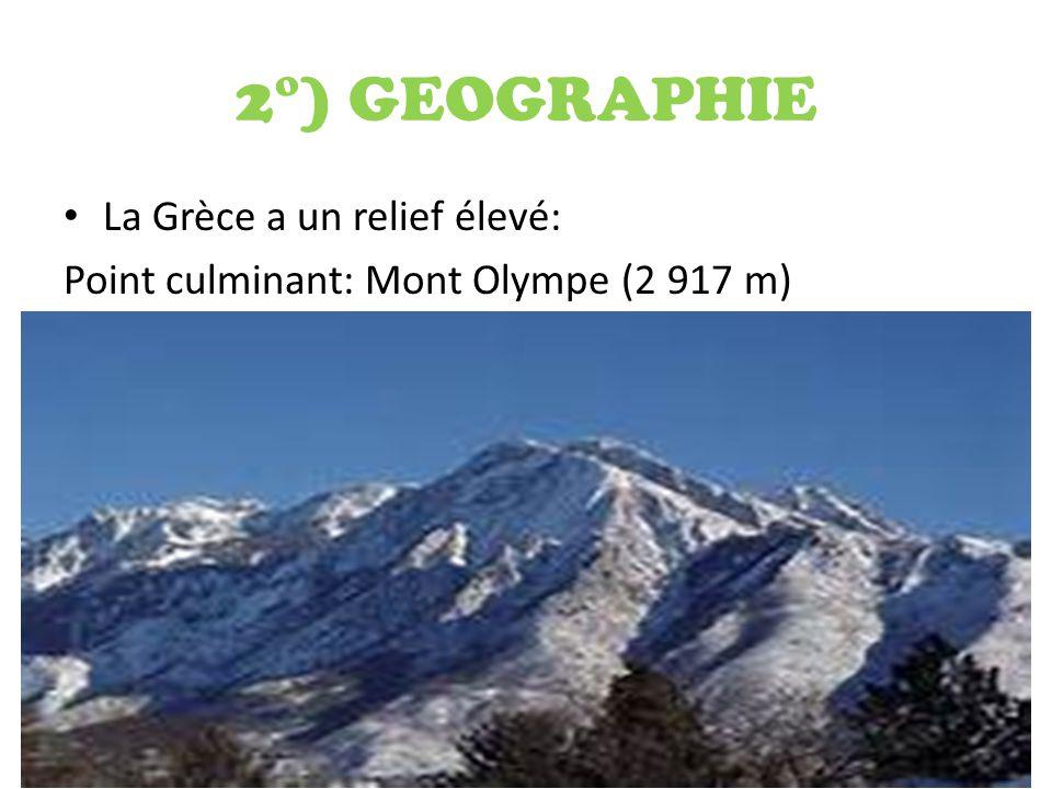 2°) GEOGRAPHIE La Grèce a un relief élevé: Point culminant: Mont Olympe (2 917 m)