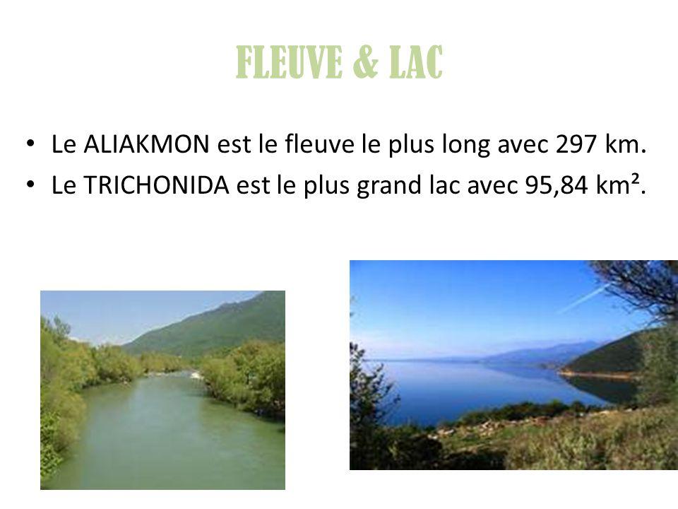 FLEUVE & LAC Le ALIAKMON est le fleuve le plus long avec 297 km. Le TRICHONIDA est le plus grand lac avec 95,84 km².