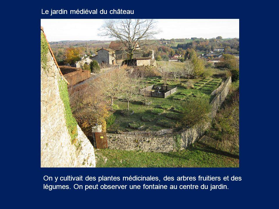 Le jardin médiéval du château On y cultivait des plantes médicinales, des arbres fruitiers et des légumes. On peut observer une fontaine au centre du
