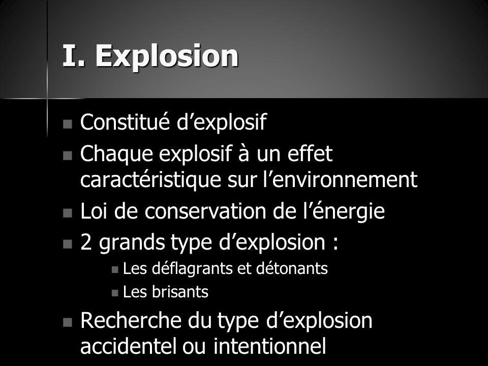 I. Explosion Constitué d'explosif Constitué d'explosif Chaque explosif à un effet caractéristique sur l'environnement Chaque explosif à un effet carac
