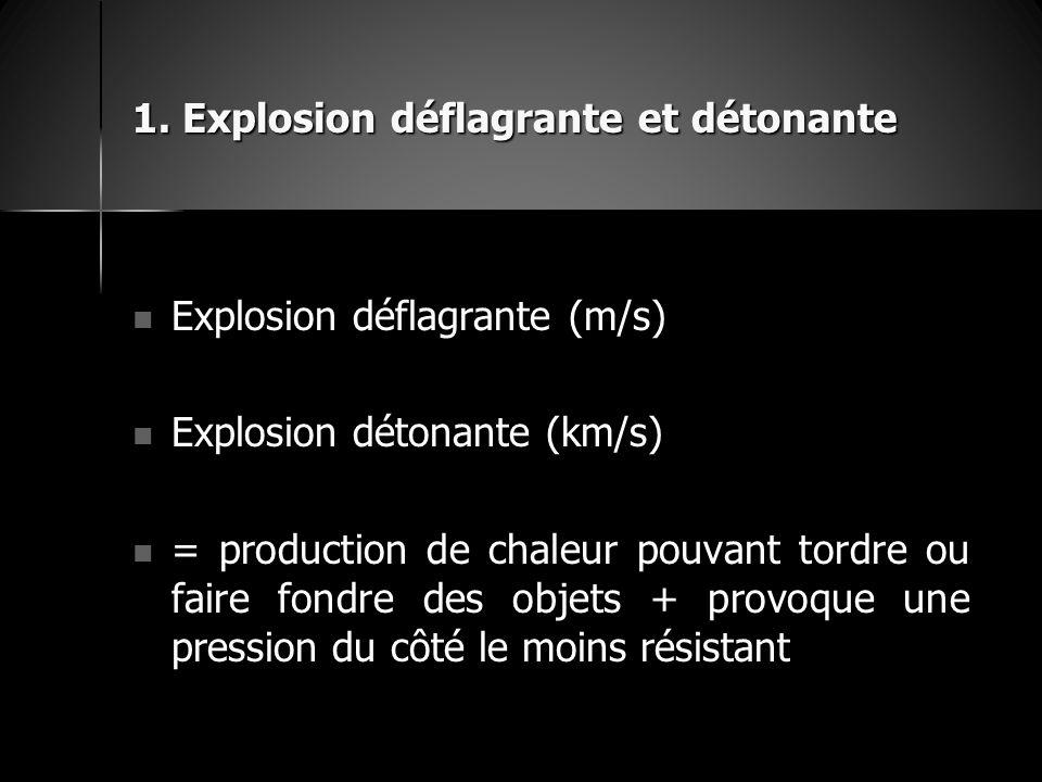 1. Explosion déflagrante et détonante Explosion déflagrante (m/s) Explosion déflagrante (m/s) Explosion détonante (km/s) Explosion détonante (km/s) =