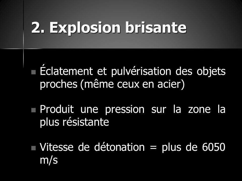 2. Explosion brisante Éclatement et pulvérisation des objets proches (même ceux en acier) Éclatement et pulvérisation des objets proches (même ceux en