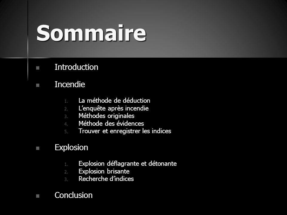 Sommaire Introduction Introduction Incendie Incendie 1. La méthode de déduction 2. L'enquête après incendie 3. Méthodes originales 4. Méthode des évid