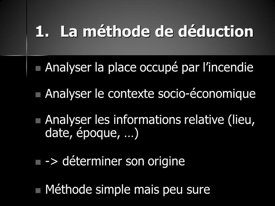 1.La méthode de déduction Analyser la place occupé par l'incendie Analyser la place occupé par l'incendie Analyser le contexte socio-économique Analys