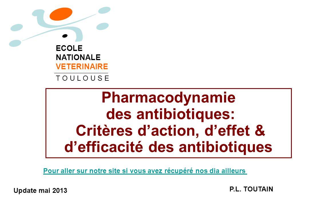 Pharmacodynamie des antibiotiques: Critères d'action, d'effet & d'efficacité des antibiotiques P.L. TOUTAIN ECOLE NATIONALE VETERINAIRE T O U L O U S