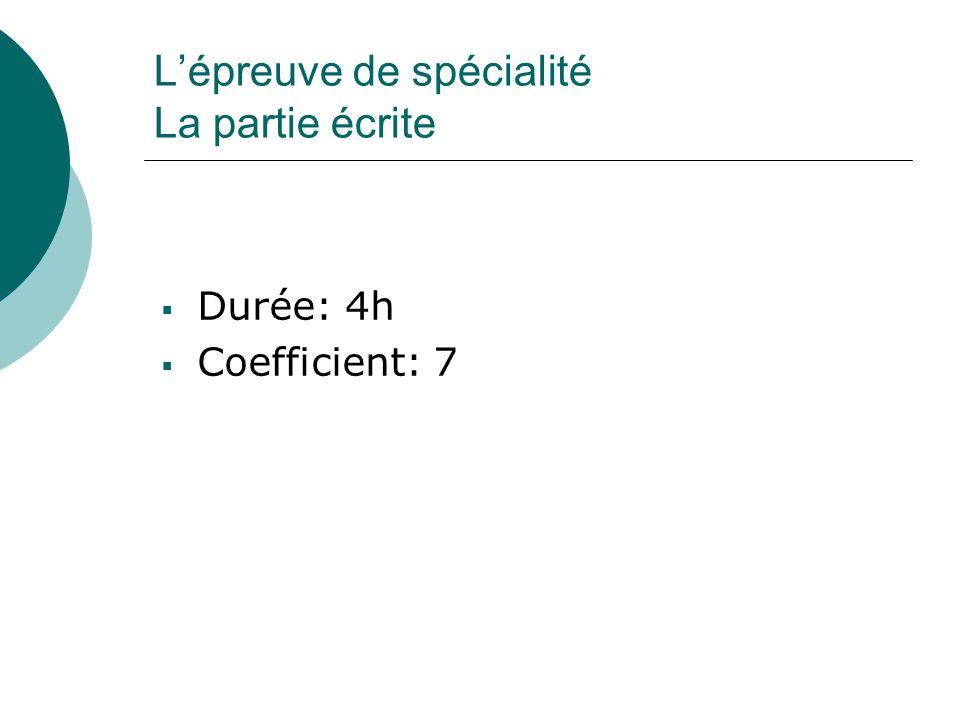 L'épreuve de spécialité La partie écrite  Durée: 4h  Coefficient: 7