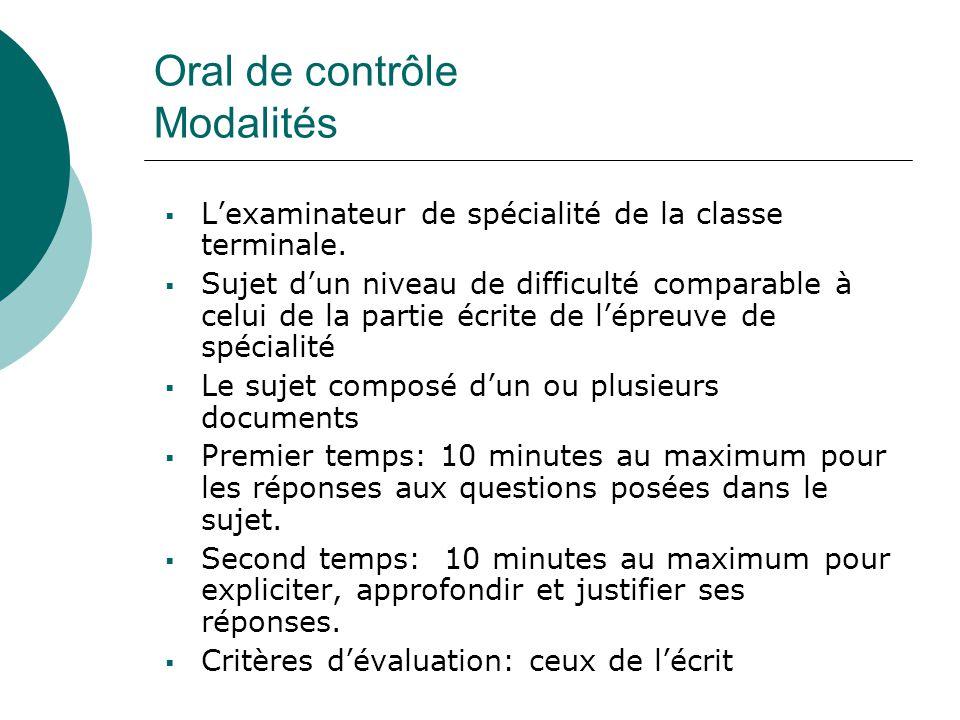 Oral de contrôle Modalités  L'examinateur de spécialité de la classe terminale.