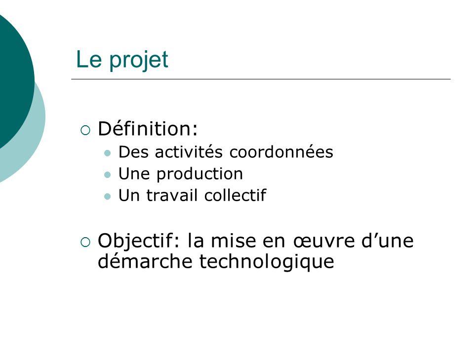 Le projet  Définition: Des activités coordonnées Une production Un travail collectif  Objectif: la mise en œuvre d'une démarche technologique