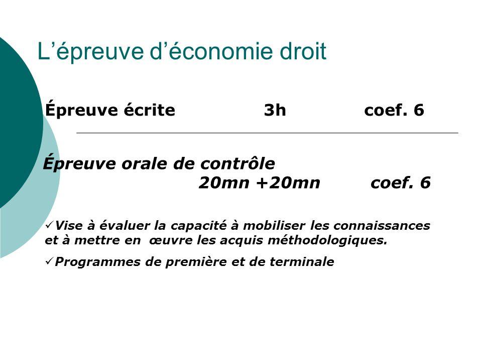 L'épreuve d'économie droit Épreuve écrite 3h coef.