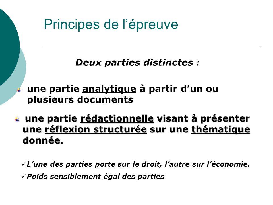 Principes de l'épreuve Deux parties distinctes : une partie analytique à partir d'un ou plusieurs documents L'une des parties porte sur le droit, l'autre sur l'économie.