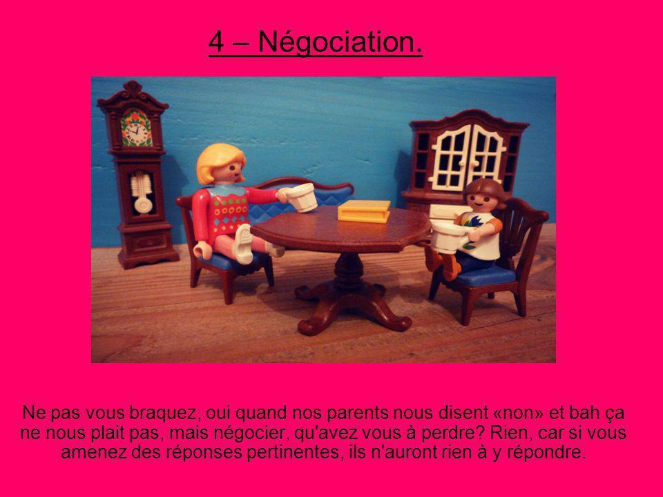 4 – Négociation.