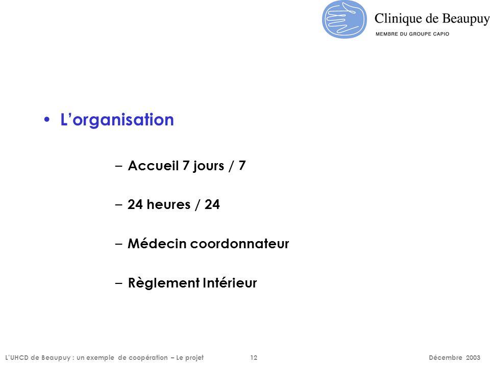 L'organisation – Accueil 7 jours / 7 – 24 heures / 24 – Médecin coordonnateur – Règlement Intérieur L'UHCD de Beaupuy : un exemple de coopération – Le