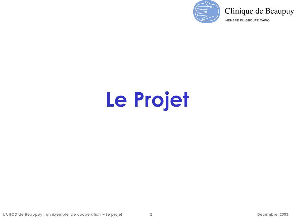 Le Projet L'UHCD de Beaupuy : un exemple de coopération – Le projet2 Décembre 2003