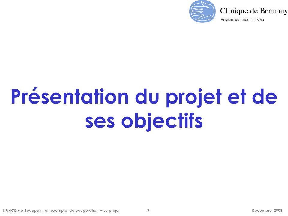 Présentation du projet et de ses objectifs L'UHCD de Beaupuy : un exemple de coopération – Le projet3 Décembre 2003