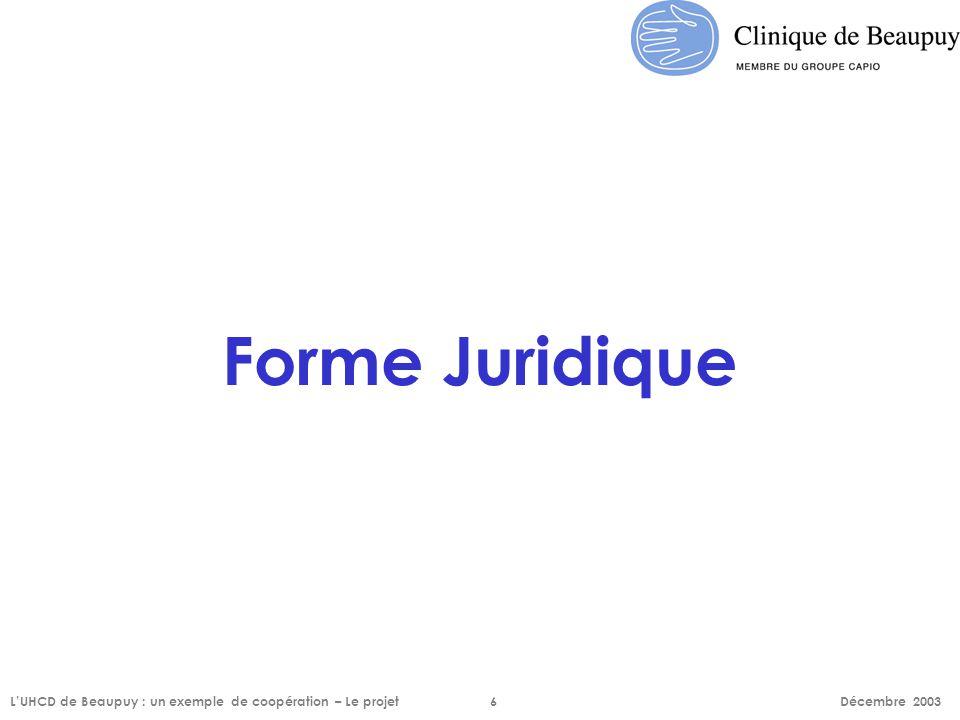 Forme Juridique L'UHCD de Beaupuy : un exemple de coopération – Le projet6 Décembre 2003