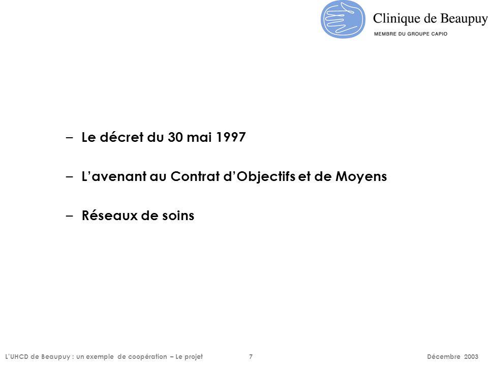– Le décret du 30 mai 1997 – L'avenant au Contrat d'Objectifs et de Moyens – Réseaux de soins L'UHCD de Beaupuy : un exemple de coopération – Le proje