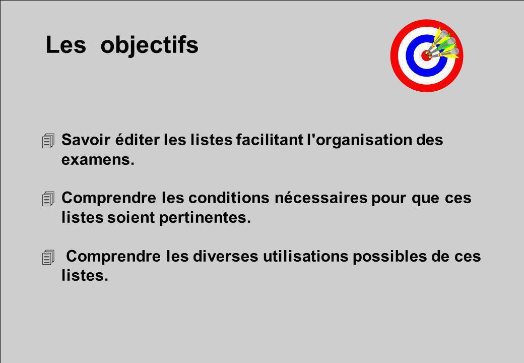Les objectifs 4Savoir éditer les listes facilitant l'organisation des examens. 4Comprendre les conditions nécessaires pour que ces listes soient perti