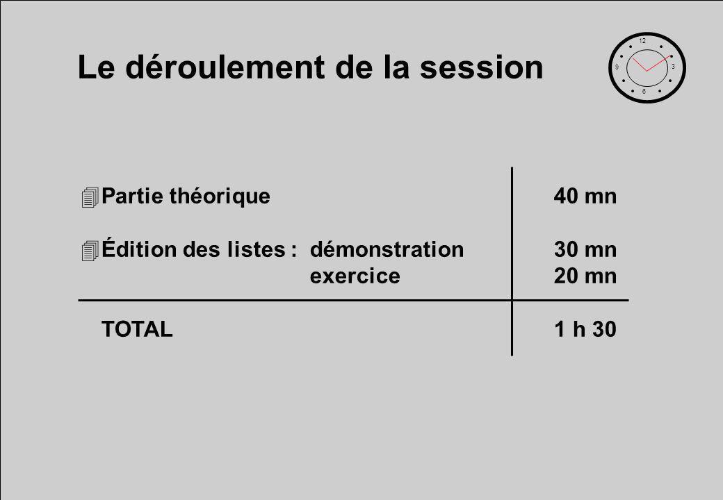 Le déroulement de la session 12 6 3 9 4Partie théorique40 mn 4Édition des listes :démonstration30 mn exercice20 mn TOTAL1 h 30