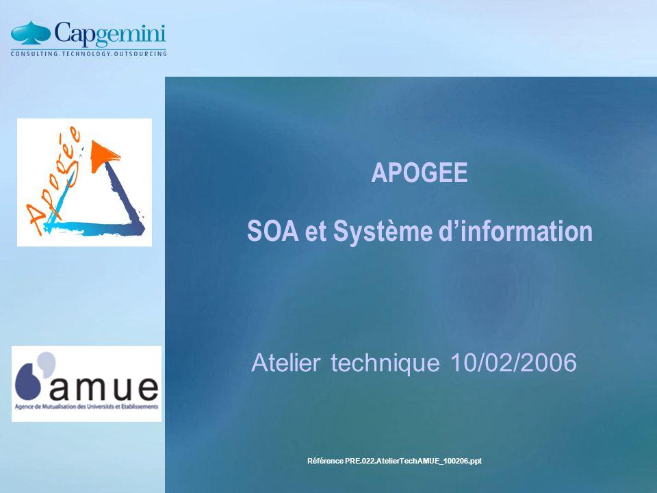 Référence PRE.022.AtelierTechAMUE_100206.ppt APOGEE SOA et Système d'information Atelier technique 10/02/2006