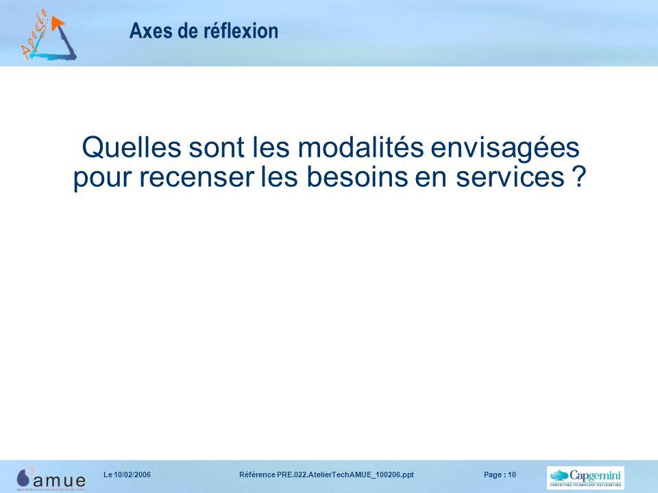 Référence PRE.022.AtelierTechAMUE_100206.pptPage : 10Le 10/02/2006 Axes de réflexion Quelles sont les modalités envisagées pour recenser les besoins en services ?