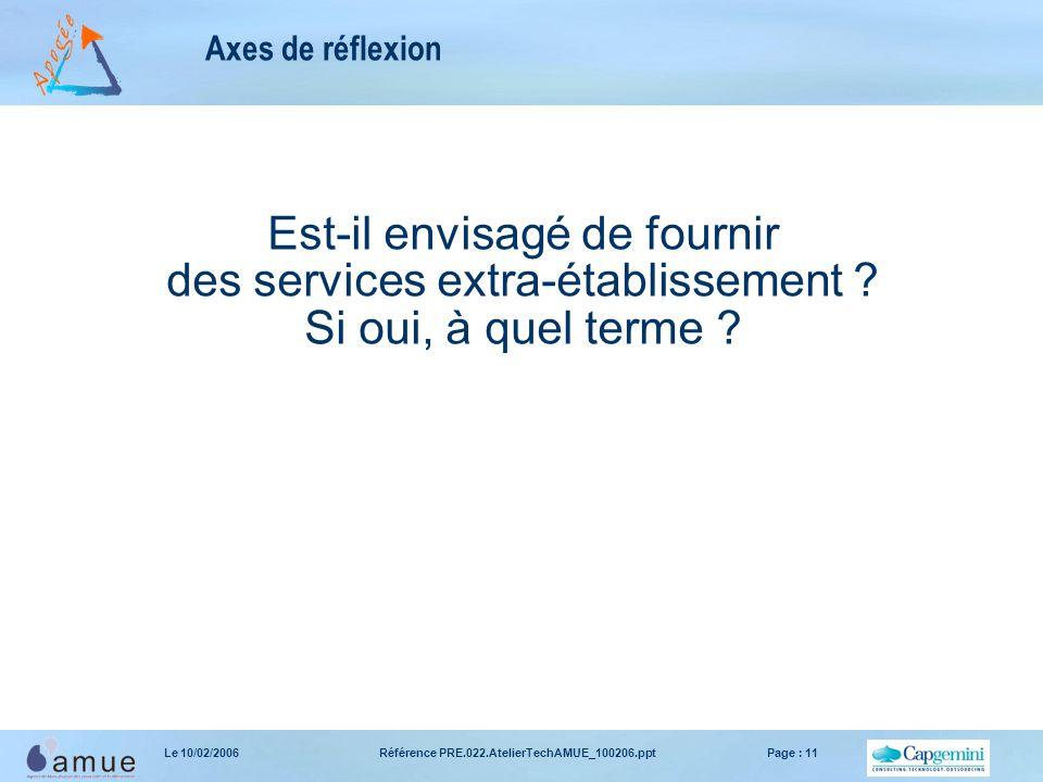 Référence PRE.022.AtelierTechAMUE_100206.pptPage : 11Le 10/02/2006 Axes de réflexion Est-il envisagé de fournir des services extra-établissement .