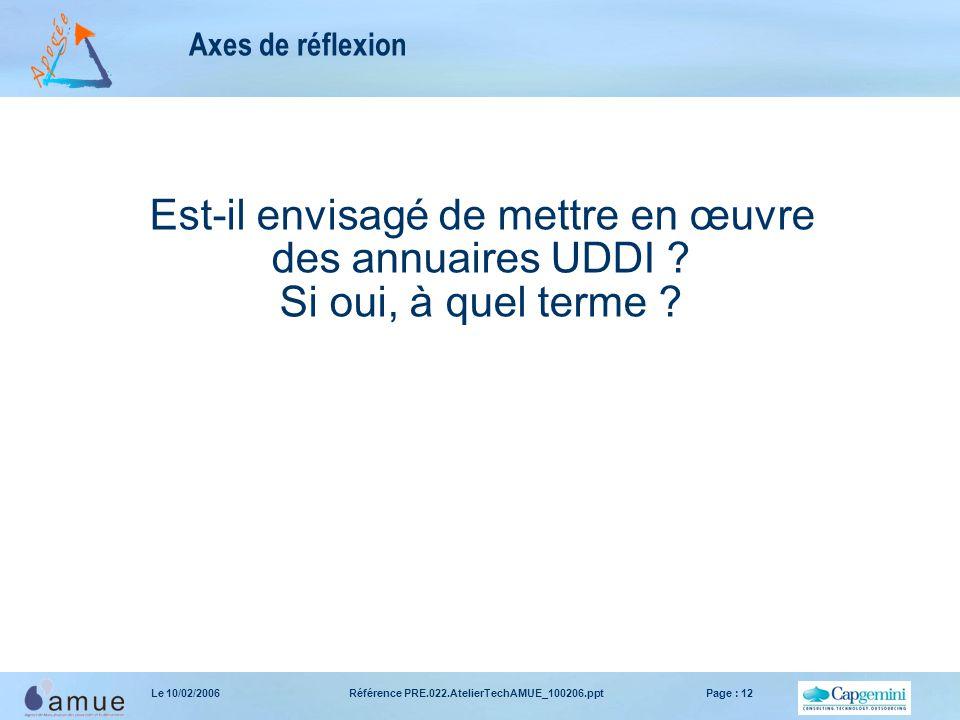Référence PRE.022.AtelierTechAMUE_100206.pptPage : 12Le 10/02/2006 Axes de réflexion Est-il envisagé de mettre en œuvre des annuaires UDDI .