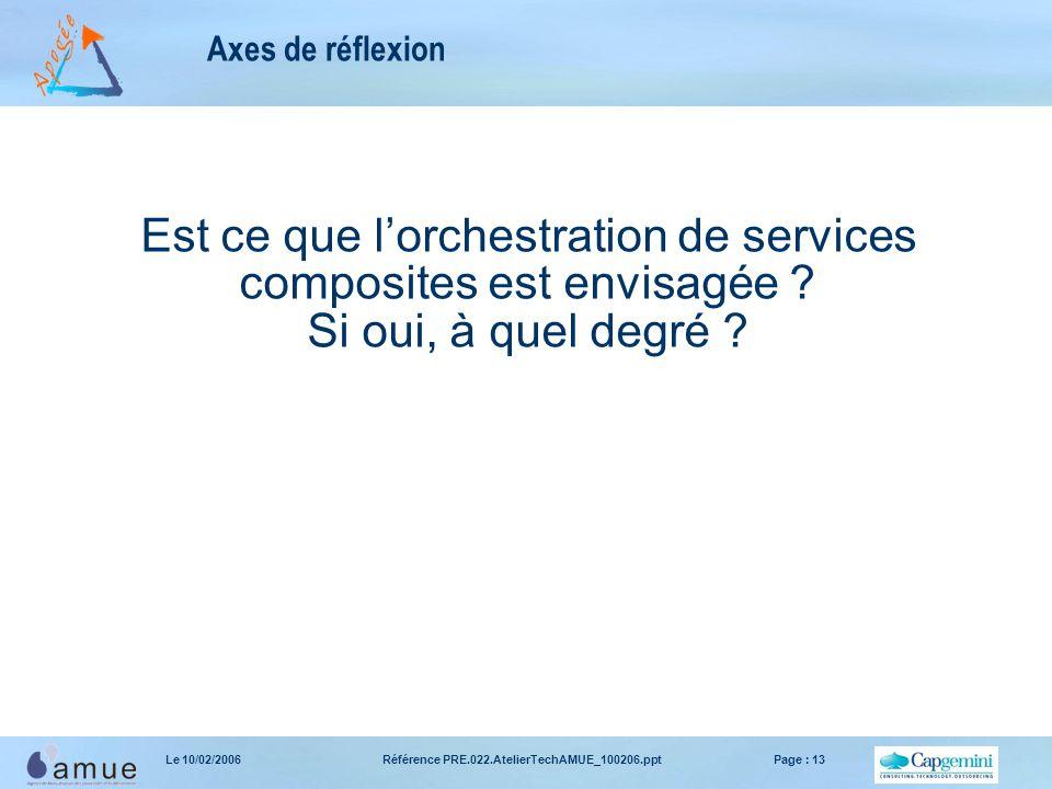 Référence PRE.022.AtelierTechAMUE_100206.pptPage : 13Le 10/02/2006 Axes de réflexion Est ce que l'orchestration de services composites est envisagée .