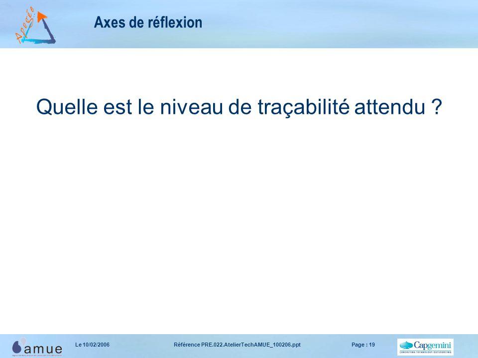 Référence PRE.022.AtelierTechAMUE_100206.pptPage : 19Le 10/02/2006 Axes de réflexion Quelle est le niveau de traçabilité attendu ?