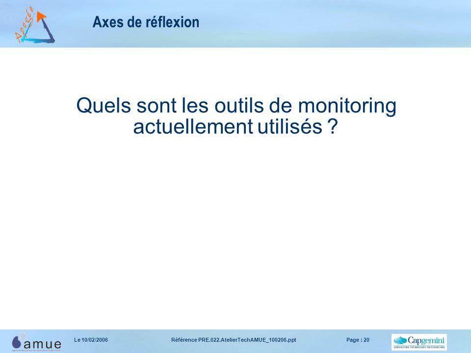Référence PRE.022.AtelierTechAMUE_100206.pptPage : 20Le 10/02/2006 Axes de réflexion Quels sont les outils de monitoring actuellement utilisés