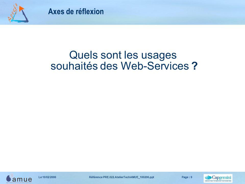 Référence PRE.022.AtelierTechAMUE_100206.pptPage : 9Le 10/02/2006 Axes de réflexion Quels sont les usages souhaités des Web-Services