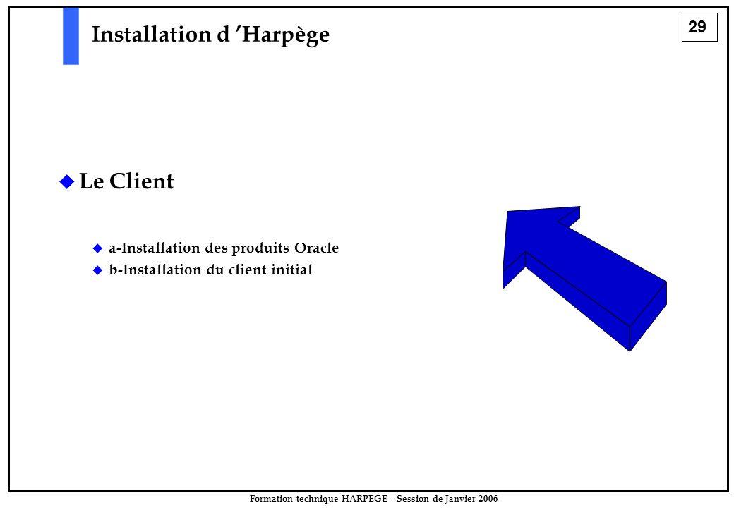 29 Formation technique HARPEGE - Session de Janvier 2006 Installation d 'Harpège   Le Client   a-Installation des produits Oracle   b-Installation du client initial