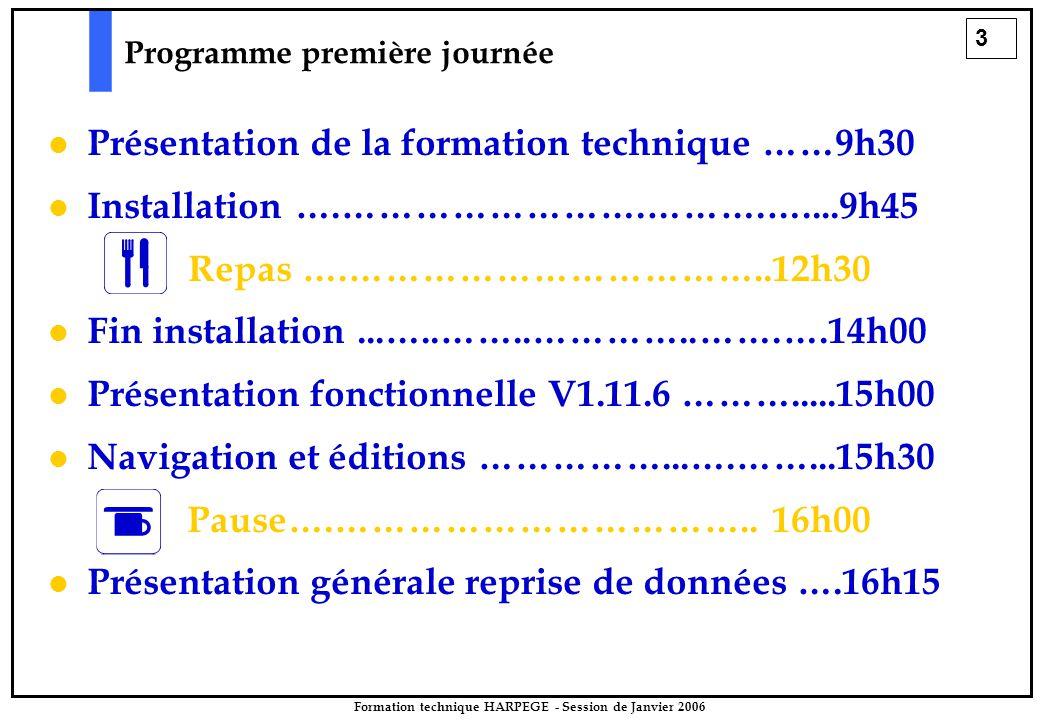 3 Programme première journée Présentation de la formation technique ……9h30 Installation ….…………………….……….…....9h45 Repas ….……………………………..12h30 Fin installation...…..……..…………..…….….14h00 Présentation fonctionnelle V1.11.6 ……….....15h00 Navigation et éditions ……………...….……...15h30 Pause….……………………………..