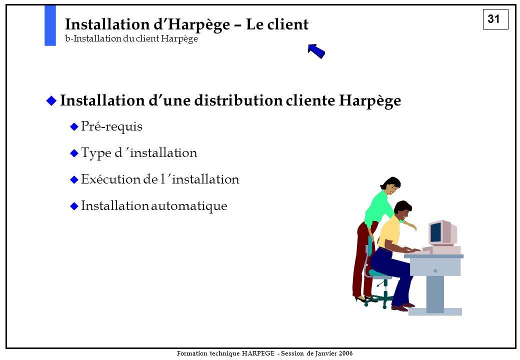 31 Formation technique HARPEGE - Session de Janvier 2006   Installation d'une distribution cliente Harpège   Pré-requis   Type d 'installation   Exécution de l 'installation   Installation automatique Installation d'Harpège – Le client b-Installation du client Harpège
