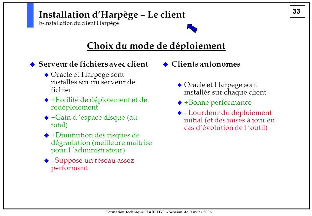 33 Formation technique HARPEGE - Session de Janvier 2006 Installation d'Harpège – Le client b-Installation du client Harpège Choix du mode de déploiement   Serveur de fichiers avec client   Oracle et Harpege sont installés sur un serveur de fichier   +Facilité de déploiement et de redéploiement   +Gain d 'espace disque (au total)   +Diminution des risques de dégradation (meilleure maîtrise pour l 'administrateur)   - Suppose un réseau assez performant   Clients autonomes   Oracle et Harpege sont installés sur chaque client   +Bonne performance   - Lourdeur du déploiement initial (et des mises à jour en cas d'évolution de l 'outil)