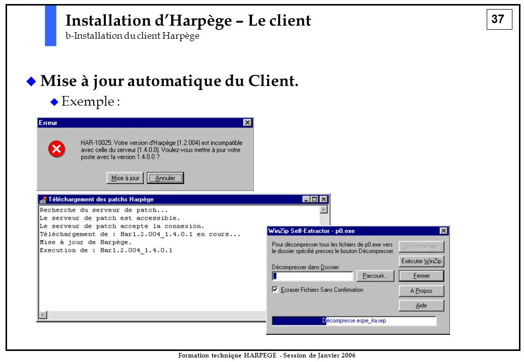 37 Formation technique HARPEGE - Session de Janvier 2006 Installation d'Harpège – Le client b-Installation du client Harpège   Mise à jour automatique du Client.
